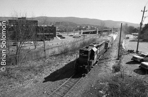 Pan Am AD-1 is seen on the Boston & Maine mainline at North Adams. Exposed on HP5 using a Canon EOS-3 with 20mm lens.