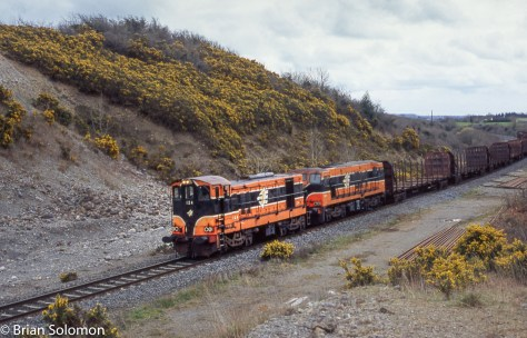 Timber train with 124 and 181 near Clara on 15 April 2006.