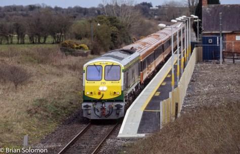 Freshly painted Irish Rail 215 at Attymon, Co. Galway.