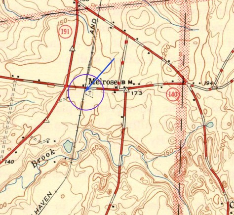 Period USGS Topographical map showing Route 140 in Melrose. I've circle the location of the photo with an arrow to show the direction I was pointing.