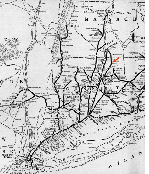 The RED arrow points at Melrose, Connecticut. The photo was made in the morning looking in a southeasterly direction on the old New Haven Armory Branch immediately south of the Route 140 crossing near St. Mary's Cemetery.