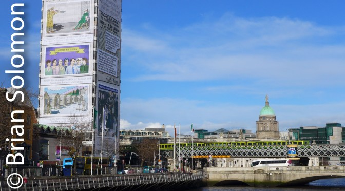 Dublin's Liberty Hall Decorated for Easter Rising Centenary.
