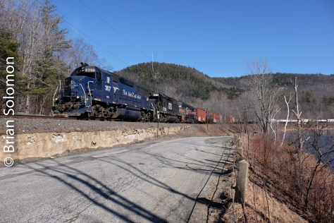 A little later in the day, here's the same EDRJ climbing toward the Hoosac Tunnel at Zoar, Massachusetts. I recalled a day about 30 years ago at this precise location when the last thing I was worried about was the card in my digital camera!