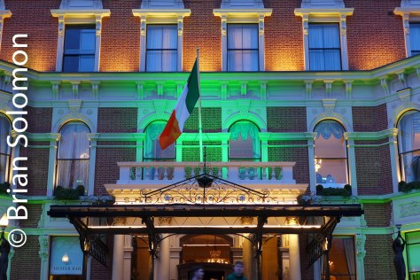 Shelbourne Hotel at St. Stephens Green lit for St. Patrick's Day.