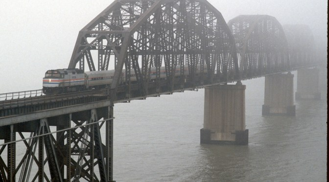 Amtrak in the Mist; Suisun Bay Bridge at the Carquinez Straits, Benicia, California.