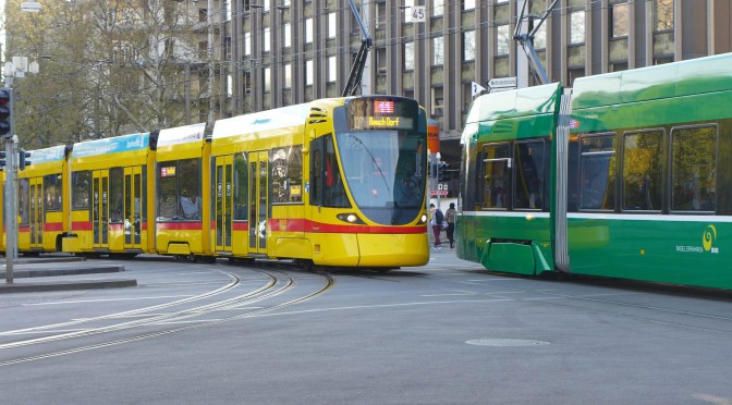 Trams in Basel, Switzerland; 21 April 2016.