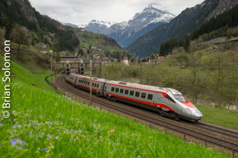 En route to Milan, this Italian State Railway ETR610 high-speed tilting train was ascending the Gotthard Pass just south of Gurtnellen, Switzerland.