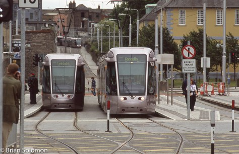 LUAS trams at Heuston Station on 31 July 2005. Exposed on Fujichrome Sensia 100 with a Nikon F3 with 180mm lens.