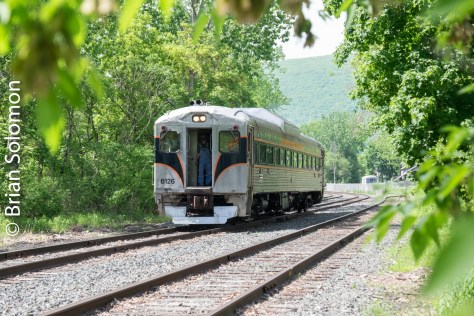 Berkshire Scenic's RDC departs North Adams for Renfrew on May 28, 2016. FujiFilm X-T1; contrast adjusted in post processing.
