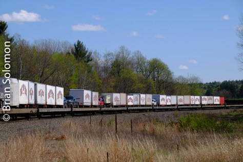 Containers and trailers were at the back.