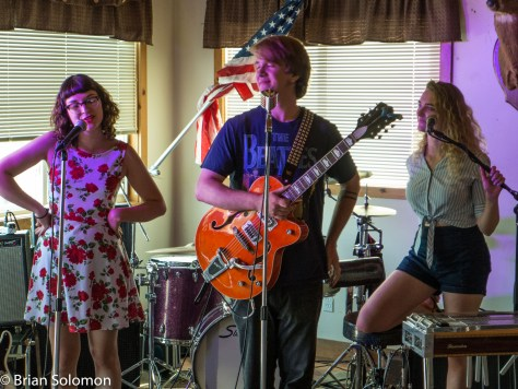 The Franklin County Sweethearts; Rosie Porter playing bass and singing with Tommy LeBeau and Lexi Weege.