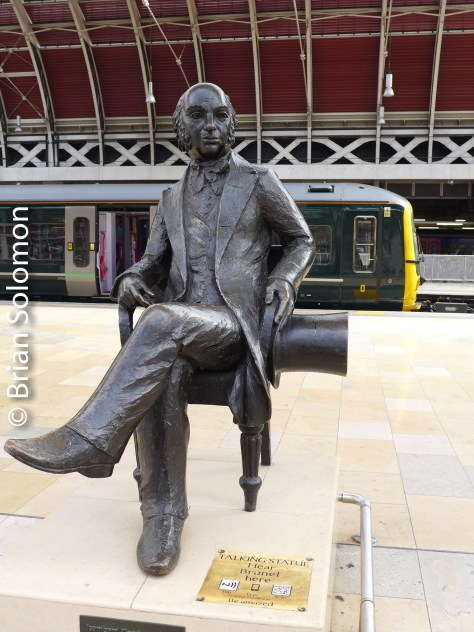 Statue of Isambard K. Brunel at Paddington Station, London. Lumix LX7 photo.