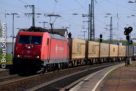 A container train passes Rastatt on the morning of 19 April 2016.