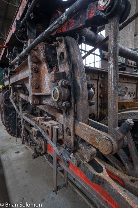 Wide angle close up of Walschearts valve gear. Old Egide was a Belgian after all!