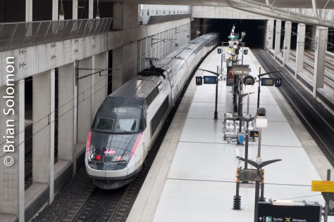 TGV Lyria at the Charles de Gaulle airport station.