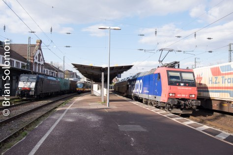 Four trains at Rastatt station.