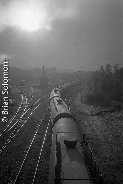 As the EDRJ was getting its train together the morning fog began to burn off. Cosmic light.