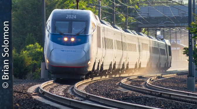 Acela Coming and Going; Alternative Views at Madison, Connecticut-June 23, 2016.