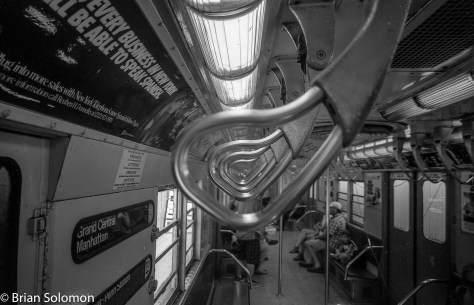 NYC subway car interior. Exposed with a Leica 3A with 21mm Super Angulon. HP5 processed in HC110.