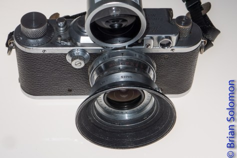One of several Leica model 3s that I used extensively in the 1970s and 1980s. This one is fitted with a 21mm Super Angulon, the aftermarket viewfinder for same is mounted atop the camera. The camera body is nearly 80 years old. It still works, I exposed several rolls of black & white film with it in June 2016.