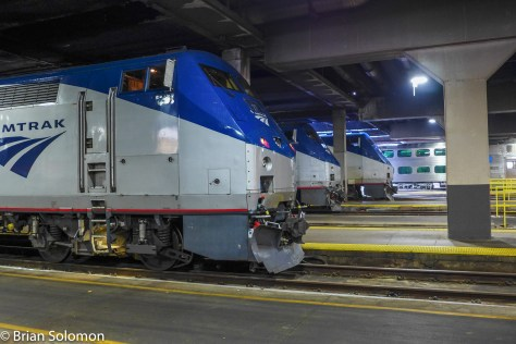 Amtrak trains at Chicago Union Station.