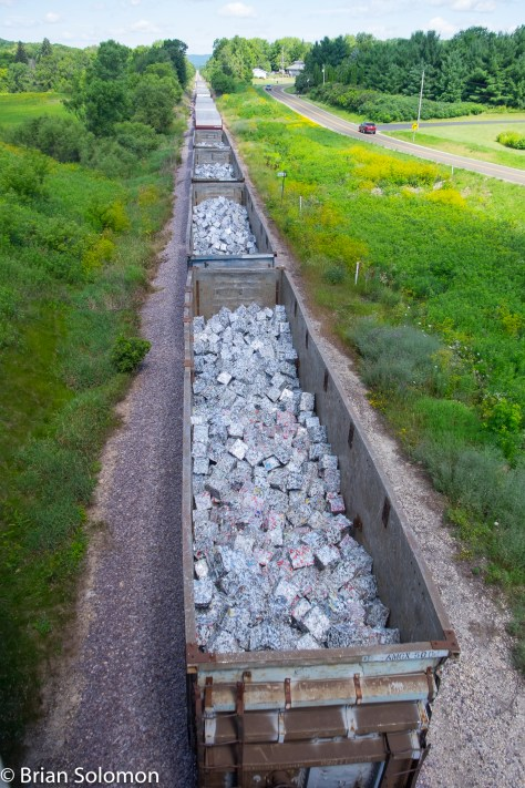 A view of scrap cars from an over-pass west of Lodi, Wisconsin. After all, a freight train is about the freight, right?