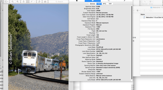 Metrolink 115 at Simi Valley, California; a difficult exposure.