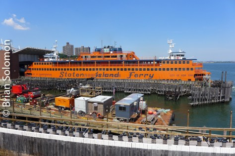 One of the ferries docked on the Staten Island side.