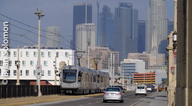 Gold Line with Skyline—Los Angeles Metro Rail.