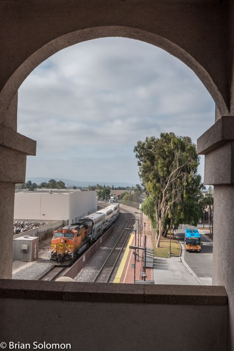 Metrolink 687 arrives behind a borrow BNSF AC4400CW. This framed view was exposed using my Lumix LX7.