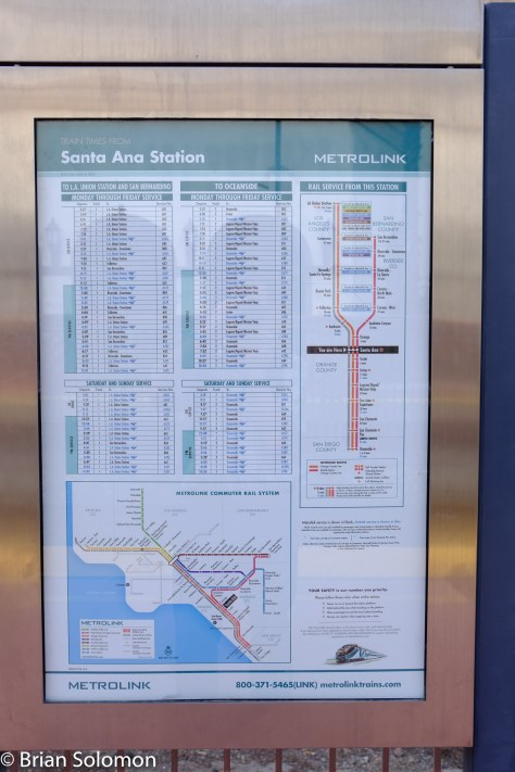 Metrolink's timetable shows both of its services to Santa Ana as well as Amtrak's Pacific Surfliner.