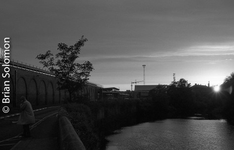 River Liffey at Heuston Station. Ilford HP5.