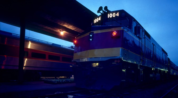 MBTA at Dusk, South Station, Boston 1978.