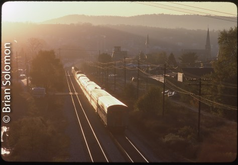 Amtrak's Capitol Limited approaching Cumberland, Maryland on October 25, 1993.