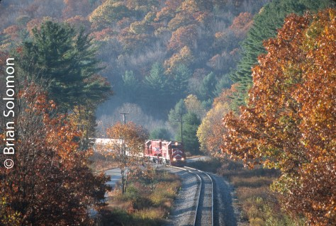 Vermont Rail System equipment on passenger special over New England Central near Stafford Springs, Connecticut, October 25, 1998.
