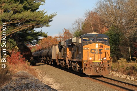 CSX empty ethanol train near Brookfield, Massachusetts on October 25, 2013.