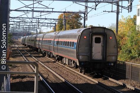 Amtrak train 71 at Hyde Park, Massachusetts on October 25, 2014.