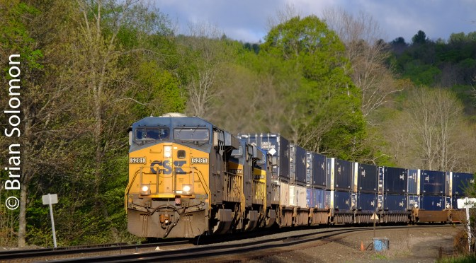 CSX Intermodal catches the First Rays of Sunshine—Middlefield, Massachusetts.