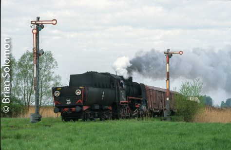 PKP Ty45 works tender first at Stefanowo, Poland on 25 April 2002.