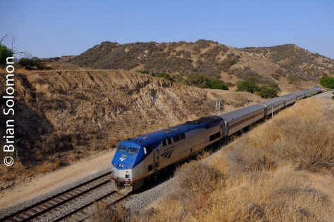Trailing view of Amtrak Pacific Surfline A790 at CP Madera, near Simi Valley, California.