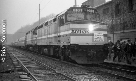 Although it was sunny at New London, by the time we'd reached Brattleboro it was raining very hard. I got soaked making my photographs. At the time I was senior at Monson Jr.-Sr High School, and David P. Morgan was still Trains Editor-in-Chief.