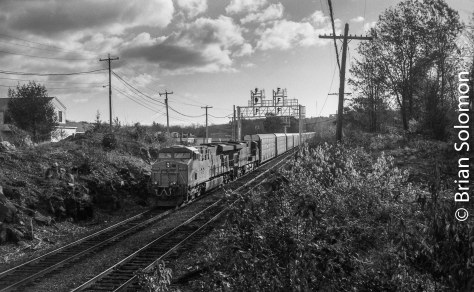 CSX diesels work Pan Am Southern at Gardner, Massachusetts.