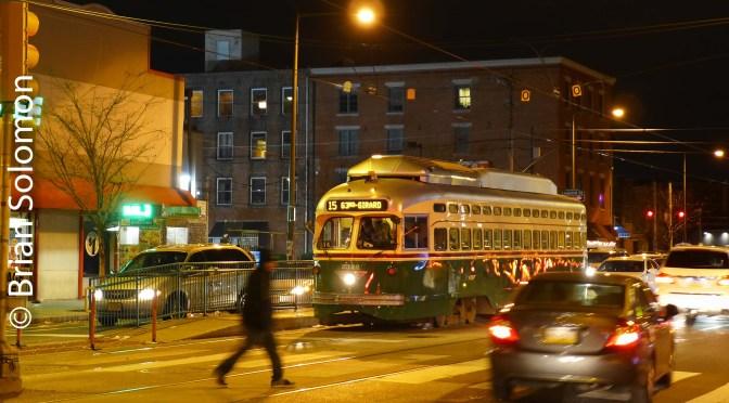SEPTA at Night on Girard Avenue.