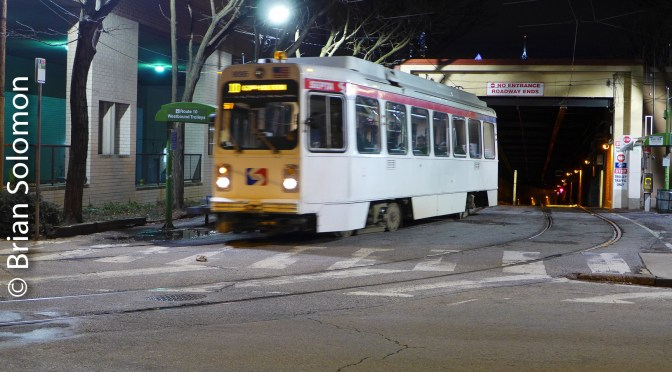 SEPTA No.10 Trolley Emerges from the Subway.