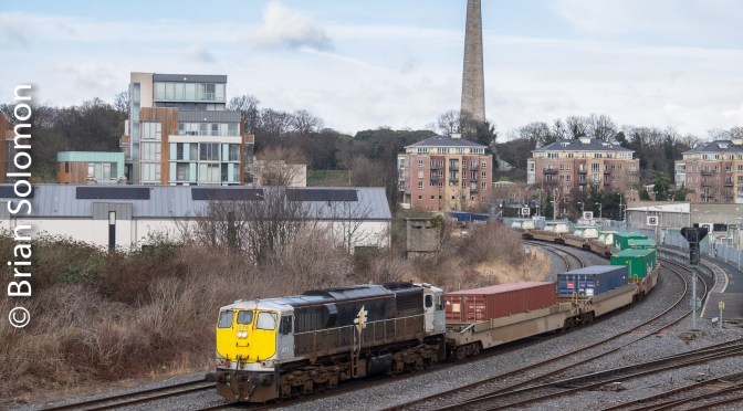 Irish Rail Container Pocket Wagons pass Islandbridge Junction.