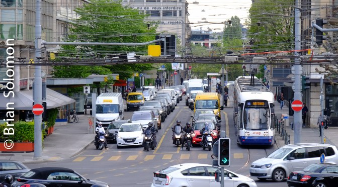Geneva Tram in Traffic.