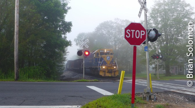 Orcuttville in the Fog, New England Central 608 on the Roll.