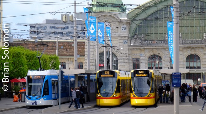 Swiss Colour—Trams at the Basel Hbf.