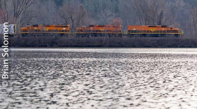Glistening Water—New England Central on the move at Brattleboro, Vermont.