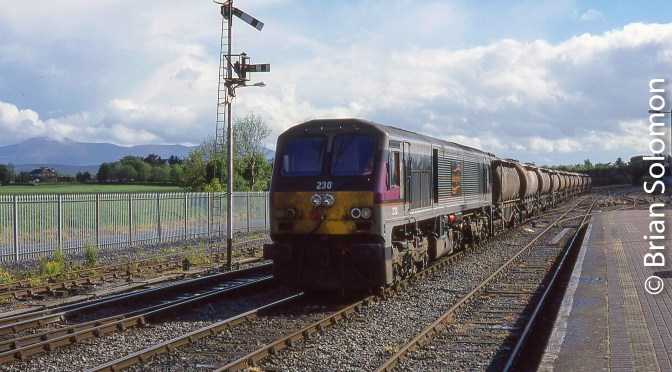 Classic Chrome: Irish Rail 230 with Bulk Bogie Cement at Limerick Junction.